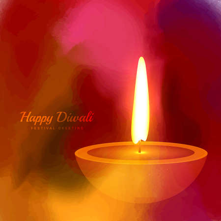 hindu festival diwali diya on colorful paint background