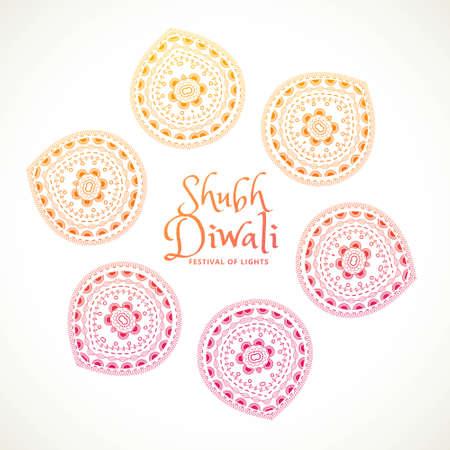shubh diwali greeting card with paisley design