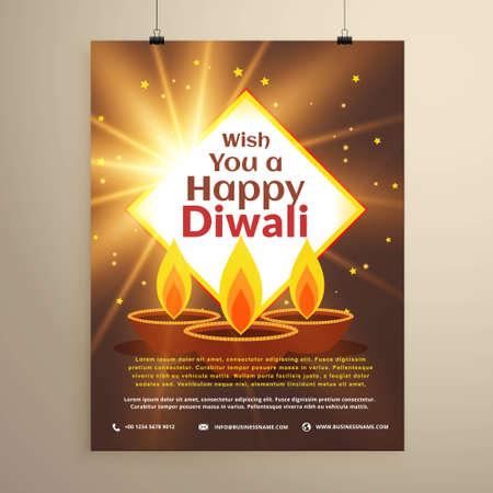 awesome happy diwali festival invitation flyer template with three diya. Diwali greeting design