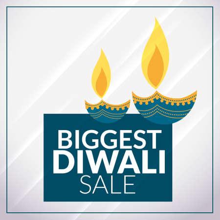 biggest diwali sale promotional banner template with diya Stock Illustratie