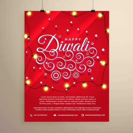 diwali flyer invitation template for the festival Stock Illustratie