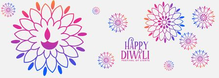 decorative colorful happy diwali festival banner design Illustration