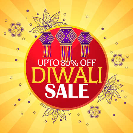 diwali sale beautiful background with hanging lamps and paisley decoration
