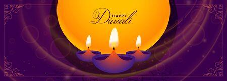 happy diwali purple banner with diya design