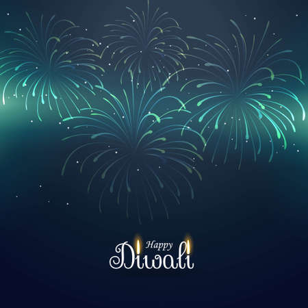 diwali greeting background with fireworks Illustration
