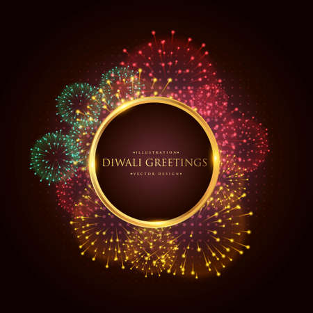 luxury diwali greeting festival banner poster with fireworks Stock Illustratie