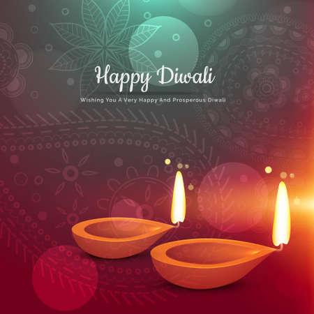 beautiful happy diwali diya greeting card