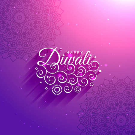 artistic happy diwali purple background with mandala pattern and glowing effect Stock Illustratie