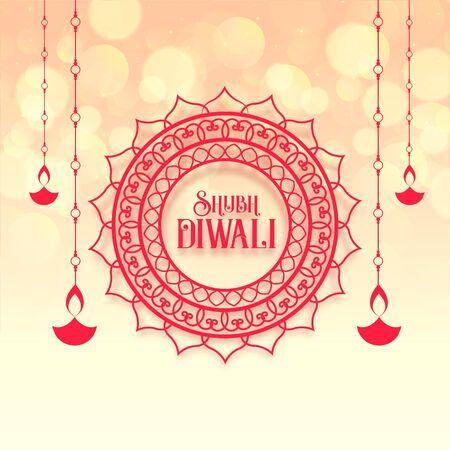 shubh (happy) diwali festival greeting design background with diya Vektorové ilustrace