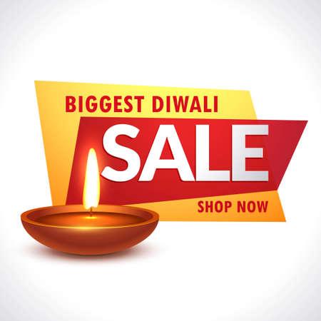 biggest diwali sale banner with realistic diya