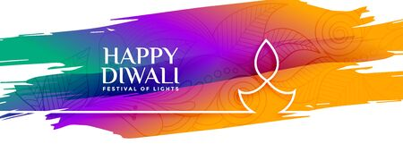 colorful happy diwali watercolor banner with line diya design