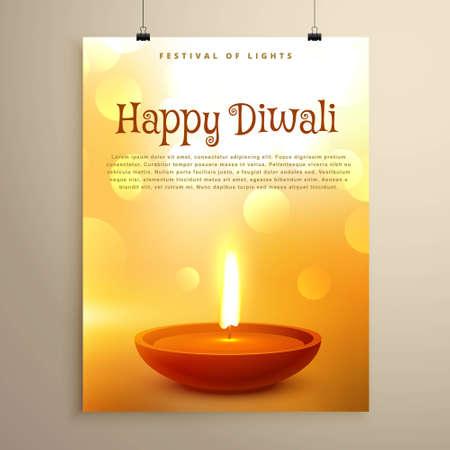 happy diwali festival greeting with realistic diya and bokeh effect