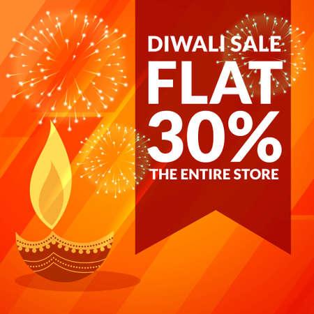 diwali season discount and sale banner with diya and fireworks