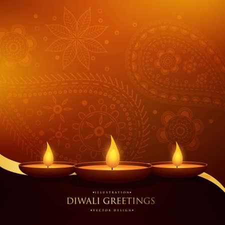happy diwali beautiful greeting with three diya and paisley decoration