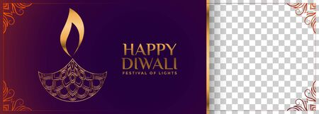happy diwali hindu festival banner with decorative diya design