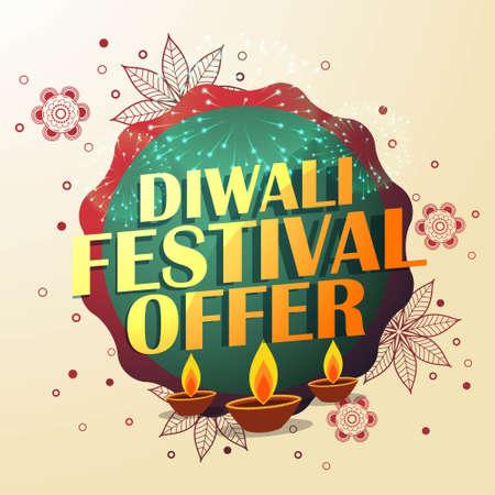 diwali festival offer with beautiful decoration and three diyas