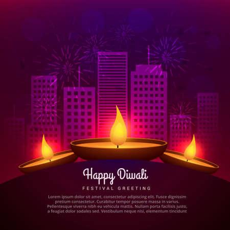 diwali diya place infront of building Stock Illustratie