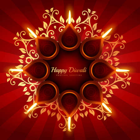 beautiful diwali greeting background with floral ornaments design
