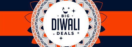 big diwali deals banner in orange and blue theme