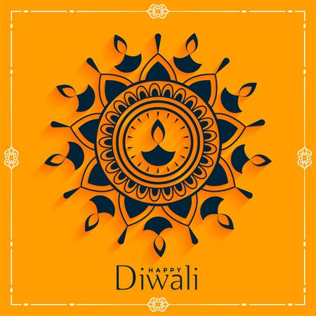 creative happy diwali diya decoration background design Illustration