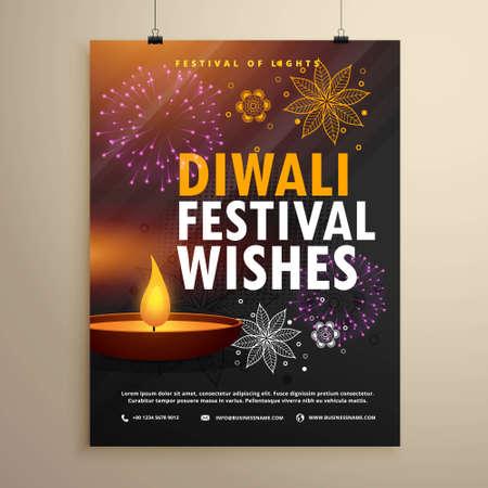 indian diwali festival greeting flyer template design Stock Illustratie