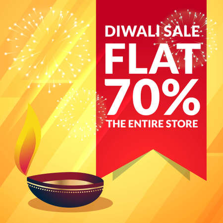 beautiful diwali sale discount promotional banner with diya on yellow background Stock Illustratie