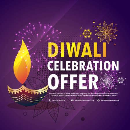 diwali celebration offer with diya on purple background