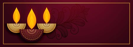 royal diya design for happy diwali festival