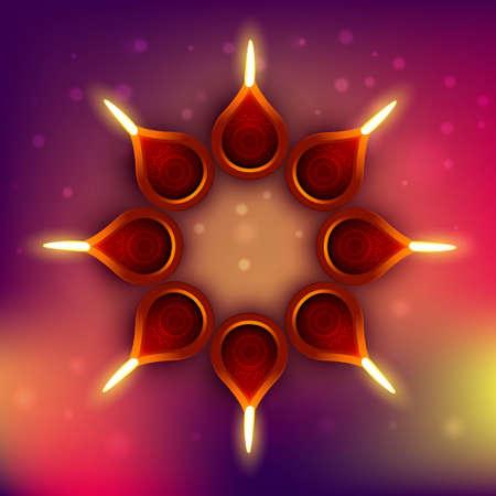 diwali diya on colorful background