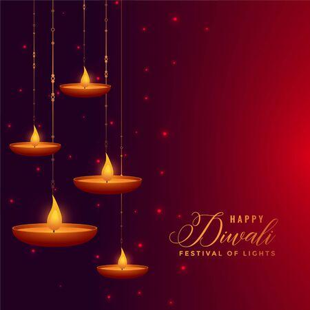 beautiful hanging diya decoration diwali background