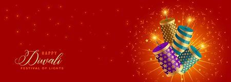 beautiful happy diwali crackers celebration banner design Illustration