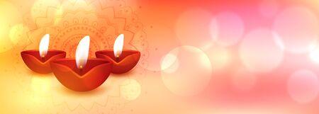 creative happy diwali banner with realistic diya design Illustration
