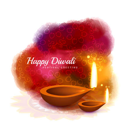 happy diwali colorful design with diya in watercolor style