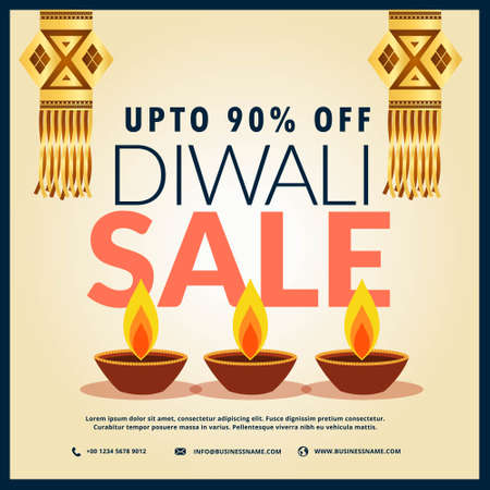 diwali sale discount banner with three diya and hanging lamps
