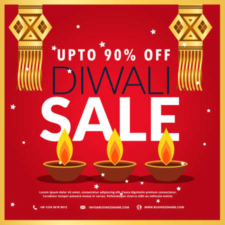 diwali festival sale poster with three diya and hanging lamp in red background Stock Illustratie