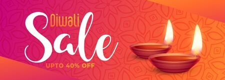 beautiful happy diwali festival sale banner with realistic diya Stock Illustratie