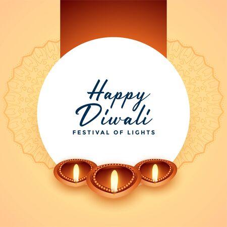 beautiful happy diwal three diya design background