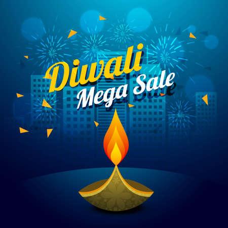 diwali mega sale design illustration