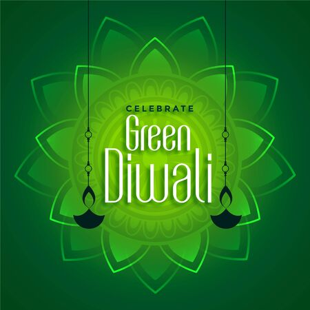 decorative eco green diwali concept background design Illustration