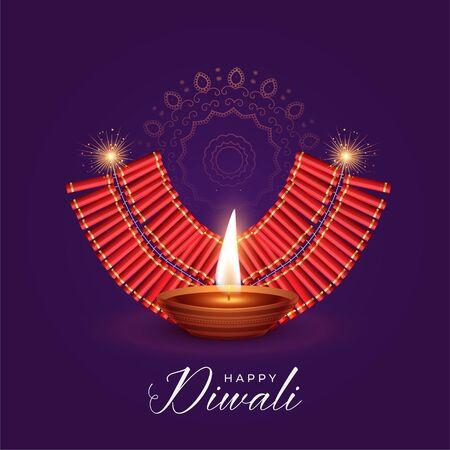illustration of burning diya and cracker for diwali festival