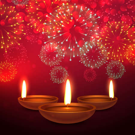 beautiful diwali festival background with fireworks and diya place on red background