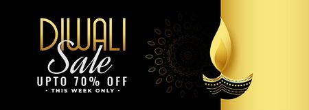 beautiful black and gold diwali festival sale banner design