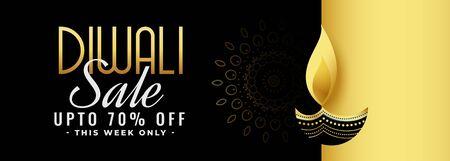 beautiful black and gold diwali festival sale banner design
