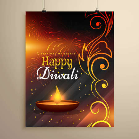 happy diwali wishes flyer design with diya and floral decoration Illustration