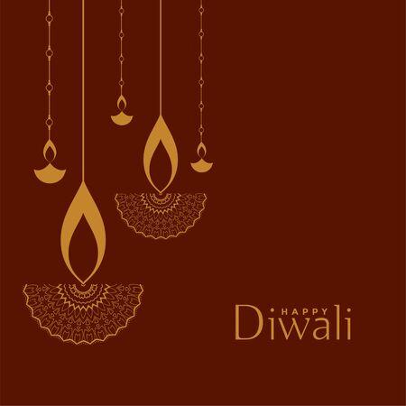 flat decorative style happy diwali festival background Illustration