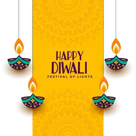 creative happy diwali festival card with decorative diya Illustration