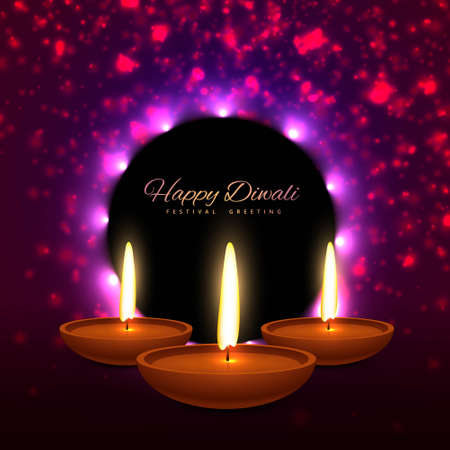 beautiful happy diwali indian festival greeting card design