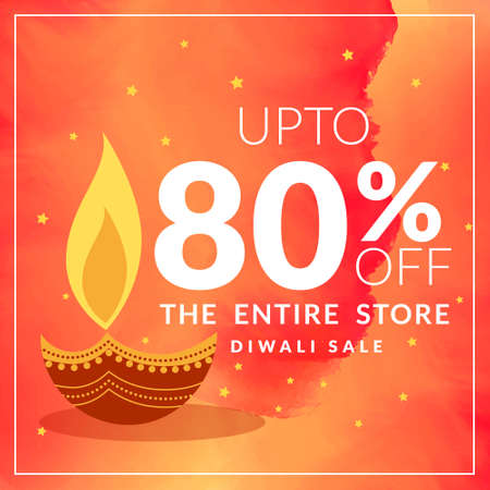 diwali sale and discount offer poster with paisley design in orange watercolor background