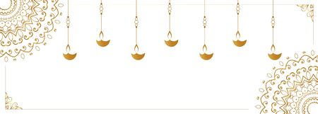 hanging diya lamp on white banner design