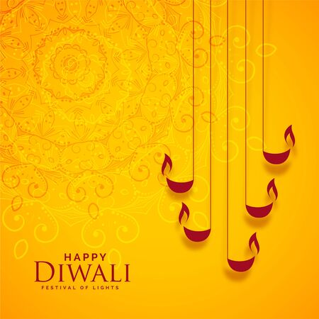 happy diwali yellow indian style background design